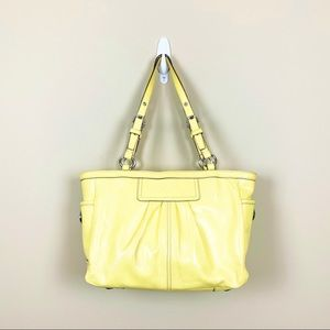 Coach Yellow Patent Leather Pleated Gallery Tote